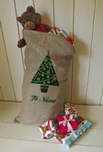 Personalized Tree Large Father Christmas Xmas Santa Sack / Stocking Bag Jute Hessian